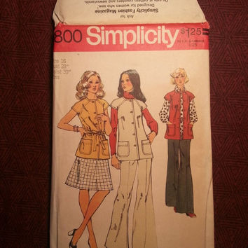 Uncut 1970's Simplicity Sewing Pattern, 5800! Size 16 Bust 38 Large/Women's/Misses/Short Sleeve Tunic Top/Vests/Flared Skirts/Bell Bottoms