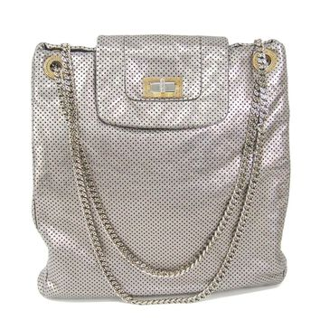 Chanel 2.55 Women's Leather Shoulder Bag Silver BF307709