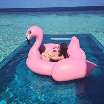 Inflatable Pool Float Outdoor Summer Lounger Toy Raft Giant Large Big Huge 5-9 FT. (Pineapple, Pizza, Pegasus, Flamingo Ring or Swan)