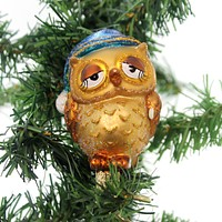 Old World Christmas Sleepy Owl Glass Ornament