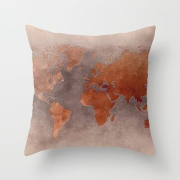 World map 7 brown Throw Pillow by jbjart