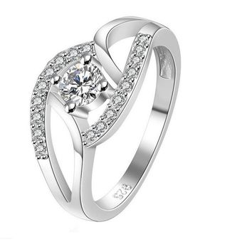 Silver Color Crystal Ring For Women