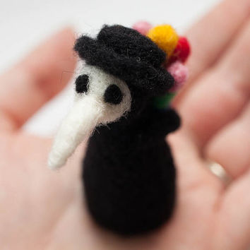 Felted Miniature Doll, Philbert the Lovesick Plague Doctor, Weird & Cute Soft Sculpture
