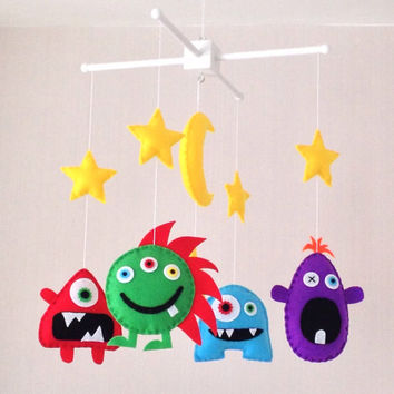 Baby Mobile - Monster Mobile - Alien Mobile - Cot Mobile - Nursery Decor - Alien baby - Baby boy mobile