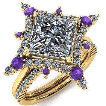 Thalim Princess/Square Moissanite 4-Point Star Amethyst and Diamond Halo Ring