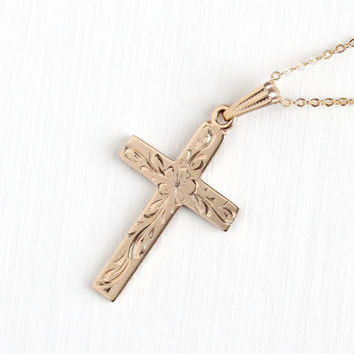 Vintage Rosy Yellow Gold Filled Flower Cross Necklace - Mid Century 1940s Crucifix Religious Pendant Etched Floral Leaf Initial Jewelry