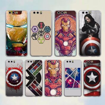 the avengers ironman captain america Transparent hard Phone Case cover for Huawei P Smart P20 P20Lite P10 Lite P8 P9 Lite