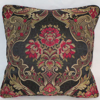"""Black Rose Floral Pillow 16""""  Gold Red Pink Flowers Damask Brocade Tapestry Welted Cover and Insert Ready to Ship"""