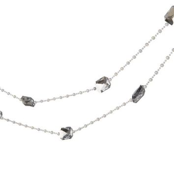 ONETOW 6' Snow Drift Silver Jewel and White Beaded Christmas Garland