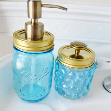 Blue Mason Jar Soap Dispenser Set with Gold Tops- Blue Q-Tip Holder Storage- Blue Glass Bathroom Set- 2 pieces - Gift Set- Gold Mason Jar