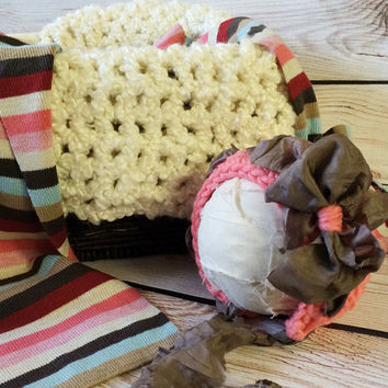 Ready to Ship Coral Baby Set, Coral Bonnet, Coral Striped Layer, Baby Hat, Cream Mini Blanket, Wrap, Photo Prop, Photography Prop