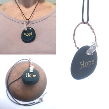 Inspirational Necklace / Bloodstone Pendant / The Word Hope Engraved, Inspirational Gift, Quartz & Copper Wire, Green Pendant Hippy Jewelry