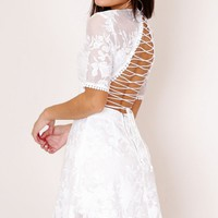 Hello There dress in white lace Produced By SHOWPO