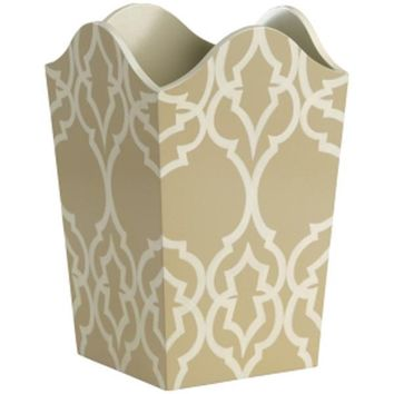 Hand Decorated Gray and Cream Patterned Waste Bin