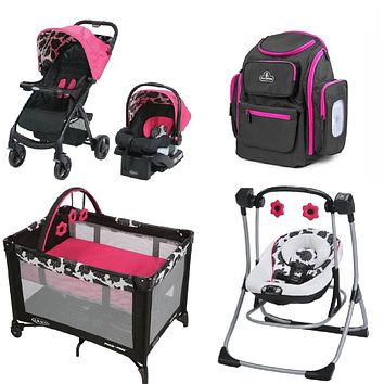 Graco Hot Pink Baby Gear Bundle, Stroller Travel System, Play Yard,Swing & Diaper Bag