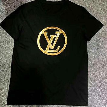 LV Louis Vuitton Popular Women Men Casual Sequins Tunic Top Tee Black