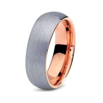 Rose Gold Brushed Tungsten Band