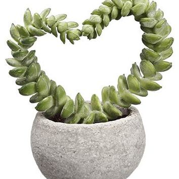 """Mini Heart Shaped Succulent Faux Potted Plant - 4"""" Tall"""