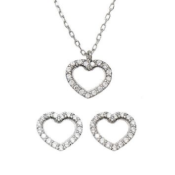 14k White Gold Tiny CZ Heart Stud Earrings & Matching Pendant w/18-Inch Necklace (Gift Set)