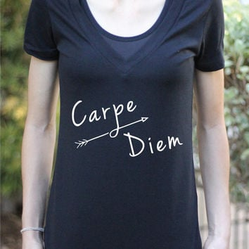 Carpe Diem - Women's Yoga Shirt - Yoga Shirt - Yoga Top - Yoga Clothes - Women's Yoga Tops - Women's Yoga Clothes - Yoga Gift - Graphic T