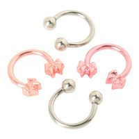 Steel Pink Bow And Silver Tone Circular Barbell 4 Pack