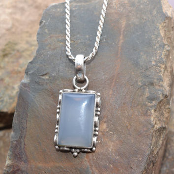 Sterling Silver and Blue Chalcedony Pendant on Sterling Silver Rope Chain