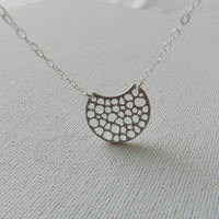 Silver necklace, Silver abstract necklace, Sterling silver chain, Modern sterling silver necklace