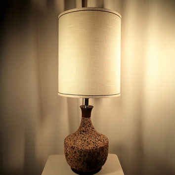 Table Lamp Cork and wood Mid Century Danish Modern lamp.