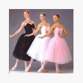 Adult Romantic Ballet Tutu Rehearsal Practice Skirt Swan Costume for Women Long Tulle Dress White pink black color Ballet Wear