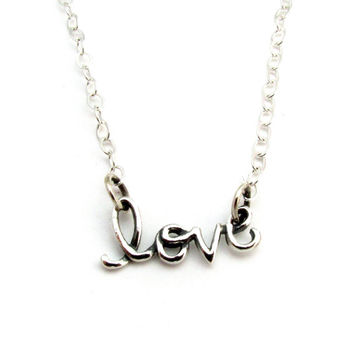 "Cursive ""LOVE"" Word Necklace in Sterling Silver on 16, 18, 20 Inch Cable Chain, Word Jewelry, Anniversary or Wedding Gift,  Celebrity Style"