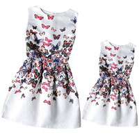 Mother Daughter Dresses Clothes Mom and Daughter Dress Family Matching Outfits Family Clothing Butterfly Print Summer Dress