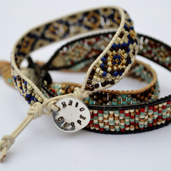 Leather Wrap Bracelet, Bohemian, Tribal, Layering, Festival, Delicate, Beadweaving, Seed Beads, White and Blue, Free Gift & Shipping
