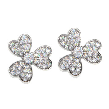 Dear Deer White Gold Plated Flower Pave CZ Stud Earring