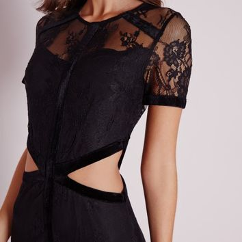 Missguided - Cut Out Velvet Binding Bodycon Dress Black