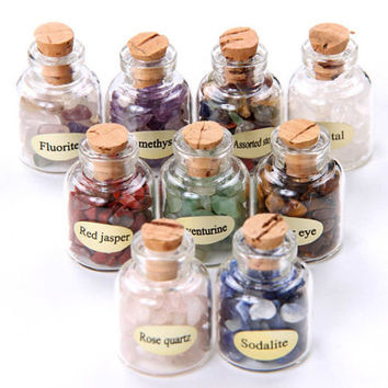 9 Mini Gemstone Bottles Chip Sz Crystal Healing Tumbled Gem Stones Reiki Wicca  GC000