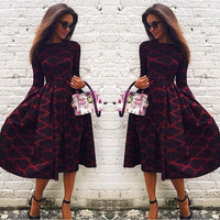 Red Floral Print Pleated Plaid Fit and Flare Long Sleeve Cotton Blend Party Midi Dress