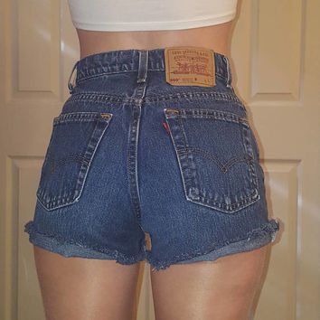 HIGH WAIST LEVI'S Vintage Jean Denim Shorts Destroyed Distressed Frayed All Sizes 24 25 26 27 28 29 30 31 32 33 34 35 36 37 Authentic Dark