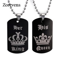 ZORCVENS Tags Pendant Couple Necklace Her King & His Queen Crown Necklace Military Army Cards for Lover Dropshipping