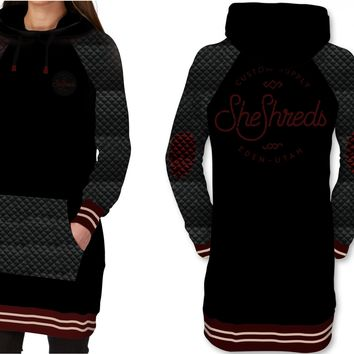 Quilted Tech Hoodie - Tall Fit - Black & Burgundy
