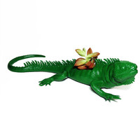 Up-cycled Forest Green Iguana Lizard Planter - With Succulent Plant