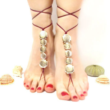 Barefoot Jewelry- Burgundy, Barefoot sandal- Sexy feet- grey silvery beaded barefoot sandal, chamois leather, Anklet, wedding, yoga, beach