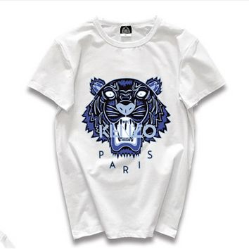 Kenzo Fashion New Letter Tiger Print Women Men Leisure Top T-Shirt White