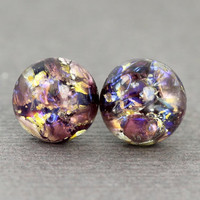 Opal Earrings : Lavender Lace. Amethyst, Purple, Yellow and Gold Glass Opal Dome Stud Earrings, Sterling Silver Posts, Fake Plugs