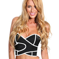 Strapless Contrast Wrap Cropped Top with Back Zipper