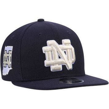 ONETOW NCAA Notre Dame Fighting Irish State Clip Black Snapback Adjustable Hat By New Era