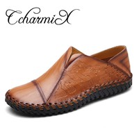 CcharmiX Mens New Designer Split Leather Shoes 2017 Arrival Style Fashion Loafers Mens Striped Pattern Flats Slip-on Mens Zapato