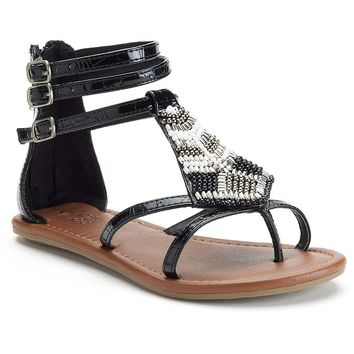 Mudd Girls' Beaded Gladiator Sandals