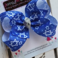 Hannukah bow -- Blue and silver Star of David bow --- Choose 4 inch or 5 inch