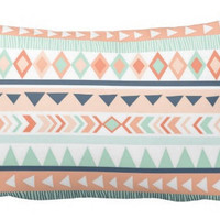 Mint & Coral Tribal Lumbar Pillow Cover with Insert