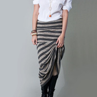 Long Skirt Maxi Stripe Womens Clothing Gray, Striped Maxi